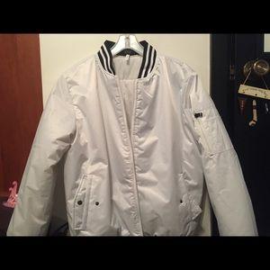 All white vintage bomber jacket